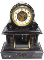 Fine Antique French Slate & Marble Regulator Mantel Clock 8 Day Striking Mantle Clock with Visible Jewelled Escapement (5 of 12)