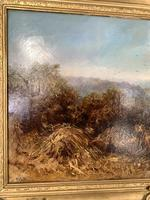 Antique Victorian landscape oil painting entitled Lunch Time by PG Hewett (8 of 11)