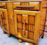 Art Deco Oak Wood Sideboard with Ball Feet (2 of 9)