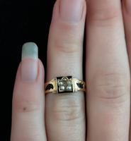 Antique mourning ring, 15ct gold, black enamel, pearl and diamond (9 of 12)