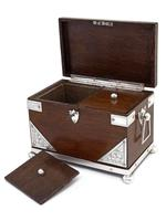 Late Victorian Oak and Silver Plate Rectangular Two Compartment Tea Caddy (5 of 8)