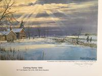 Original lithograph 'Coming home 1944. B.17 Los Angeles City Limits. 355 Bomb Squadron'. By Douglas Ettridge 1927-2009. Signed and numbered 103/500 (2 of 2)