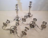 Pair of 19th Century Silver Plate Three Branch Candleabra (4 of 7)