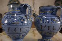 Pair of Mid 17th Century Italian Majolica Berettino Wet Drug Jars (2 of 11)
