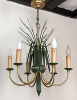 Vintage Art Deco Style Murano & Toleware Wheatsheaf Ceiling Light Chandelier (8 of 12)