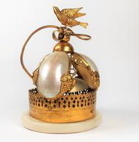 Rare 19th Century Palais Royal Gilt Dove Bird & Mother of Pearl Bell (10 of 12)