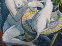 Watercolour Nude with Cat Listed Artist James Gorman (4 of 14)