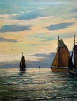 Andries Debeuf Flemish, Stunning Large Moonlit Seascape Oil Painting (5 of 13)