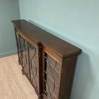 Edwardian Walnut Break Fronted Antique Bookcase (6 of 7)