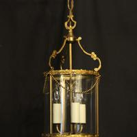 French Small Convex Gilded Triple Light Antique Lantern (2 of 10)