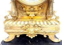Superb Antique French Ormolu Mantel Candelabra Clock Set Embossed Decoration Finial 8 Day Striking (12 of 15)