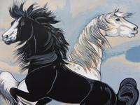 Watercolour & Ink Study of Stallions Artist Vigil (9 of 10)