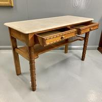French Marble Top Faux Bamboo Dressing Table (3 of 8)