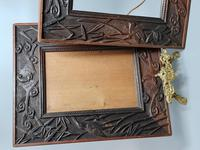 Fabulous Large Pair of Aesthetic Movement Oak Picture or Mirror Frames,Bats & Birds in Reeds c.1900 (4 of 8)