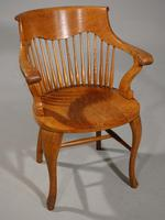 Shapely Early 20th Century Golden Oak Bow-backed Desk Chair (2 of 4)