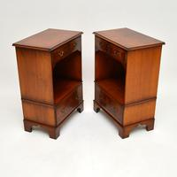 Pair of Antique Georgian Style Burr Walnut Bedside Cabinets (10 of 10)