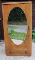 1900's Satin Walnut 1 Door Mirrored Round Corner Fitted Wardrobe