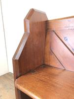 Antique Pitch Pine Church Pew with Enamel Number 35 (9 of 12)
