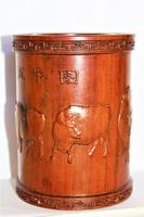 Superb & Finely Carved Chinese Hardwood Brush Pot (6 of 8)