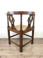 Antique 19th Century Oak Corner Chair with Rush Seat (3 of 10)
