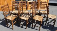 1940's Set of 8 Oak Ladder Back Dining Chairs with Rush Seats (2 of 3)