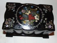 Victorian decorated papier mache tea caddy (2 of 6)