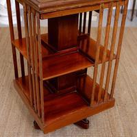Edwardian Revolving Bookcase Inlaid Mahogany (4 of 6)