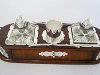 Decorative Late Victorian Oak & Silver Plate Ink Stand (3 of 9)