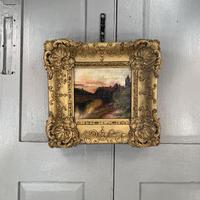 Antique Victorian signed oil painting river landscape at sunset in gesso frame (2 of 8)