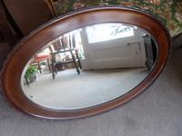 Edwardian 1910 Oval Shaped Wall Mirror Oak with Beading Ebellishments  81cm x 61cm
