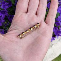 Antique 9ct Yellow Gold Six Amethyst Bar Brooch, Victorian Edwardian 9K Pin (3 of 8)