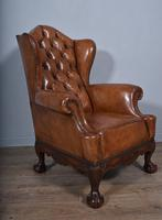 Large Antique Deep Buttoned Leather Wing Chair (3 of 5)