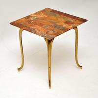 1950's Vintage Brass & Onyx Side Table
