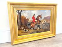 """Victorian Sporting Oil Painting """"Taking A Fence"""" Horse  & Rider With Scent Foxhounds Hunting By John Alfred Wheeler (41 of 59)"""