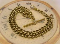 Antique Pocket Watch Chain 1890s Victorian large Brass Double Albert With T Bar (4 of 12)