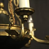 French Gilded Brass Empire 6 Light Antique Chandelier (9 of 10)