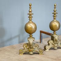 Victorian Brass Andirons & Fender (2 of 9)