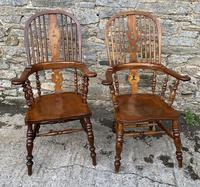 Pair of Antique Broad Arm Windsor Chairs (6 of 28)