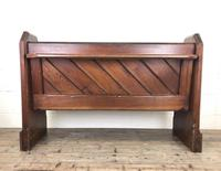 Antique Pitch Pine Church Pew with Enamel Number 27 (13 of 13)