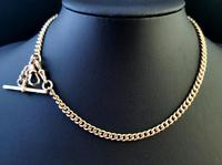 Antique 9ct Yellow Gold Double Albert Chain, Watch Chain, Curb Link (8 of 13)