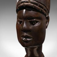 Antique Hand Carved Female Bust, African, Ebony, Ornamental Figure c.1900 (9 of 12)