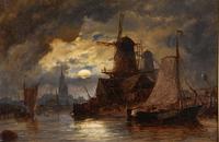 "Oil Painting Richard Henry Nibbs ""Moonlight at Arnheim"" (2 of 5)"