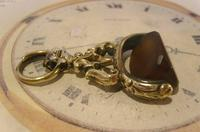 Antique Pocket Watch Chain Fob 1870s Victorian Huge Brass & Amber Stone Swivel Fob (7 of 10)