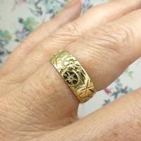 Vintage 9ct Solid Gold Engraved Wedding Band Dated London 1969~ Etched Ring (7 of 11)