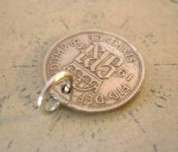 Vintage Pocket Watch Chain Fob 1948 Lucky Silver Sixpence 6d Coin Fob (6 of 7)
