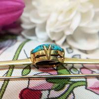 Antique 9ct Gold Turquoise Cabochon Brooch (9 of 9)