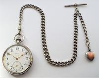 Antique 1930s Moeris Pocket Watch & Chain (3 of 6)