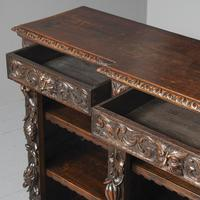 19th Century Flemish Carved Oak Open Breakfront Bookcase (6 of 9)