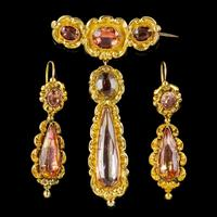 Antique Georgian Brooch & Earring Set 18ct Gold Pink Quartz + Paste Circa 1800 Boxed (2 of 11)