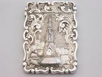 Victorian Silver Castle-top Card Case Martyrs Memorial Oxford by Frederick Marson, Birmingham, 1850 (3 of 10)